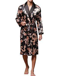 Haseil Men's Satin Robe Dragon Chinese Silk Spa Long Sleeve House Kimono Bathrobe - http://www.darrenblogs.com/2017/04/haseil-mens-satin-robe-dragon-chinese-silk-spa-long-sleeve-house-kimono-bathrobe/