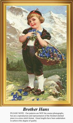 Brother Hans, Vintage Counted Cross Stitch Pattern. Kit and Digital Download Also Available #crossstitch #123stitch