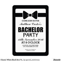 Clic White Black Bow Tie Bachelor Party Card Invitations Bridal