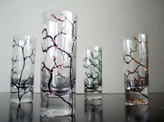 Hand Painted Extra Tall Shot Glasses With Four Season Trees - Winter, Spring, Summer & Autumn - Set Of 4 by Mary Elizabeth Arts on Gourmly