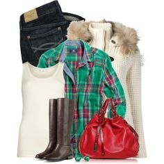 """""""Buttons and Plaid"""" by pinkroseten on Polyvore"""