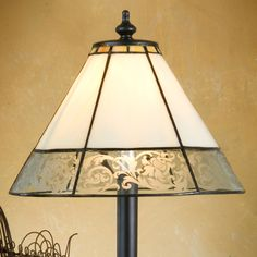 Glass Home Decorations | Etched Scroll Design | Stained Glass Lamps