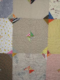 detail of neutrals + scraps quilt by Jenny from cut.sew.iron.repeat -- so very lovely.