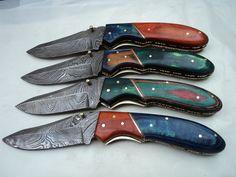 Handmade Damascus Folding Knives