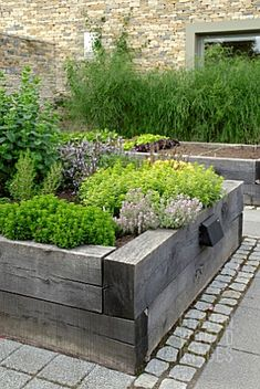 Contemporary raised beds - beautiful distressed beams.