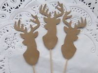 Deer Head Antler Cupcake Toppers Hunting Picks Buck Lumberjack Party Set of 24