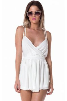 Ophelia romper front with crossed boobs, gathered shorts, and double straps