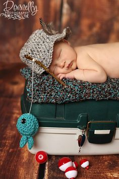 NEW-fisherman set-baby boy hat-newborn photography-photo prop. $38.00, via Etsy.