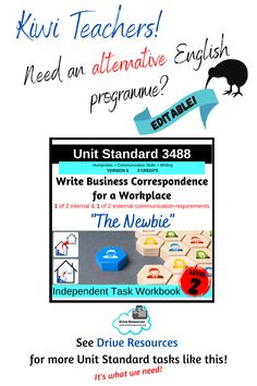 Unit Standard 3488 Write Business Correspondence for a workplace is in store. An editable task workbook, this can be shared digitally or printed as hard copy. Students are scaffolded through to success for 2 of 4 writing pieces required for this standard in a workplace scenario based around a new employee. This is the latest level 2 unit standard in my collection. Unit standards are fantastic for alternative English programmes or your ESL students. Sentence Construction, Literacy Strategies, Business Correspondence, English Language Learners, Parts Of Speech, Home Schooling, Communication Skills, Life Skills, Esl