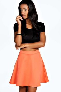 $14, Orange Skater Skirt: Boohoo Roseanna Colour Pop Skater Skirt. Sold by BooHoo. Click for more info: https://lookastic.com/women/shop_items/297985/redirect