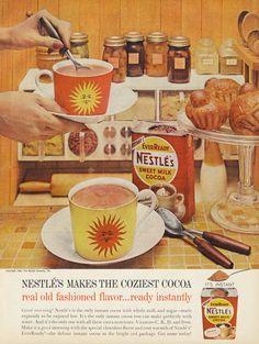 1961 Nestle Cocoa Ad Hot Chocolate Sunshine Mugs by AdVintageCom Old Advertisements, Retro Advertising, Retro Ads, Vintage Ads, Vintage Posters, Vintage Food, Retro Food, Retro Recipes, Vintage Recipes