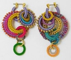 crochet earrings - Too big for earrings - I would love a necklace of these