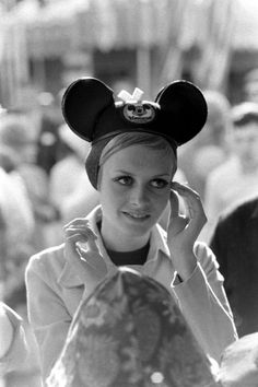 Twiggy at Disneyland during her first visit to the U.S., 1967