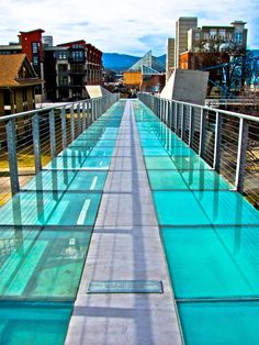 Pedestrian bridge over Riverfront Parkway from the Hunter Museum plaza • Chattanooga,Tn.  Tennessee Aquarium seen in background