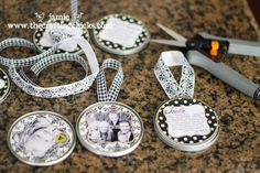 Wonderful idea from The Crafting Chicks, but where to get this many juice lids?  Maybe next year.
