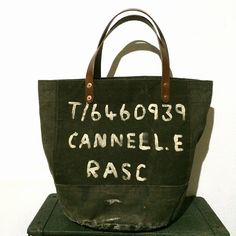 40's era RASC vintage canvas duffle remake rounded tote bag  IND_BNP_00072 W45cm H34cm D28cm
