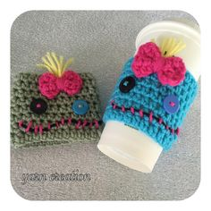 From Disneys Lilo and Stitch movie this is a Stitch doll inspired beverage coffee cozy sleeve for your travel mug. **** please add color preference at notes in check out *** Crochet Coffee Cozy, Crochet Cozy, Crochet Gifts, Crochet Hooks, Coffee Cup Cozy, Coffee Barista, Coffee Menu, Coffee Girl, Coffee Corner