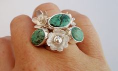 Turquoise and silver flower stacking rings