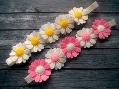 Felt Daisy headband, pink flower headband, flower girl headband for girls, white pink headband, toddler headband, wool felt flower headband