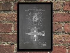 Steampunk Art Print 1891 Tesla Generator Patent by Steampunkthings