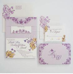 Custom Wedding Invitations by Ceci New York. #wedding #invitations #letterpress #foil #watercolor #purple #yellow #white