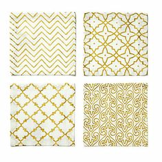 Love this Gold Foil Coasters for $28 on C. Wonder.  I like the dinner napkins in these patterns even better!