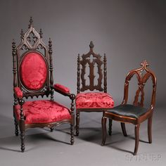 I must know some old Goth folks who would love this. Gothic Revival Walnut Carved Upholstered Armchair and two Other Chairs | Sale Number 2640B, Lot Number 567 | Skinner Auctioneers
