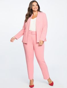 View our High Waisted Trouser With Belt and shop our selection of designer women's plus size Pants, clothing and fashionable accessories. Trendy Plus Size Dresses, Plus Size Suits, Look Plus Size, Plus Size Jeans, Plus Size Womens Clothing, Plus Size Fashion, Curvy Fashion, High Fashion, Women's Fashion