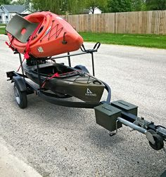 PWC trailer made into a Kayak Trailer. https://uk.pinterest.com/uksportoutdoors/kayakiing/pins/