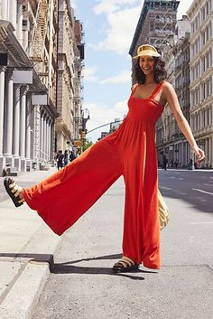 Homecoming Jumper In a comfortable linen-blend fabrication, this easy jumpsuit features a stretchy smocked design at the bust and an ultra wide leg silhouette. - Jumpsuits and Romper Free People Clothing, Clothes For Women, Wedding Jumpsuit, Tent Dress, Floral Jumpsuit, Fashion 2020, Street Fashion, Homecoming Dresses, Boho Fashion