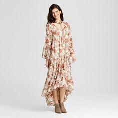 Women's Chiffon Maxi Dress Cream Floral S - Mossimo Supply Co., Beige