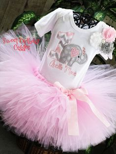 Baby Elephant Birthday Outfit Baby Girl by SweetBirthdayGiggles