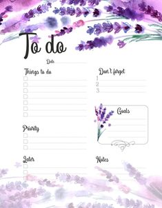 To Do Printable Planner witn Watercolor Lavender To Do Lists Printable, Daily Planner Printable, Planner Template, Daily Planner Pages, Study Planner, Weekly Planner, Bullet Journal Printables, Bullet Journal Ideas Pages, Bullet Journal Inspiration