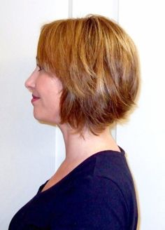 Chin Length Layered Bob Hairstyles | Chin Length A-line bob with side-swept bangs, layers, and soft ...