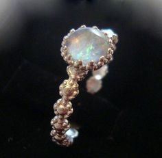 Romantic and Feminine opal ring  reclaimed/recycled by ApacheMoon