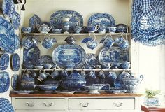 Gorgeous Collection of Blue & White Porcelain Makes a Statement in Kitchen of Jonathan Vickers