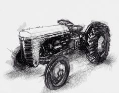 Artist Sean Briggs producing a sketch a day Old tractor ##art#drawing#sketch ##tractorhttp://etsy.me/1rARc0J
