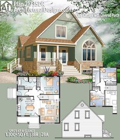Plan Cozy Cottage with Covered Porch Architectural Designs House Plan gives you 3 beds, 2 baths and over square feet of heated living space. Cottage House Plans, Cottage Homes, Architectural Design House Plans, Architecture Design, Porch Architecture, Small Farmhouse Plans, Modern Farmhouse, Br House, House Bath
