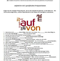 Worksheets German Grammar Worksheets pinterest the worlds catalog of ideas adjectives with specific prepositions new intermediate level worksheet and online exercise link