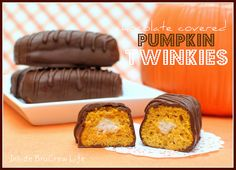 Chocolate Covered Pumpkin Twinkies - pumpkin twinkies filled with a cinnamon butter cream and covered in milk chocolate  http://www.insidebr...
