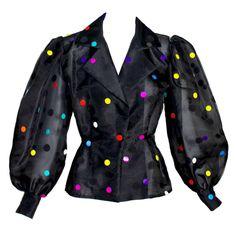 Vintage Givenchy  Boutique Black Organza Colorful Paillettes Polka Dots Blouse T 1
