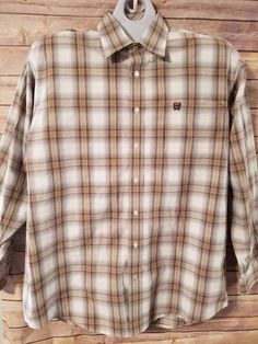 Cinch Mens Size Large Western Shirt Plaid Tan White Long Sleeve #Cinch #Western