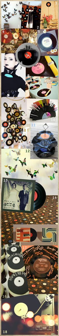 . Bits and pieces. of awesome.. really think the butterflies are awesome but I don't think it is feasible w/o a laser cutter. I have record sleeves that could be repurposed to display some photos, record centers also add nice pops of color... really any of these ideas rock!
