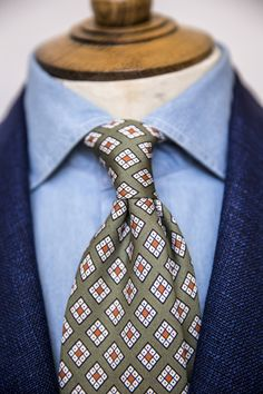drakes-diary:  Tie Knot.Drake's Printed Silk Tie. Available from our Online Shop or No.3 Clifford Street.