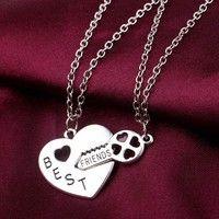 Wish   Women's Fashion Necklace Heart Key Best Friends Pendant Fashion Jewelry