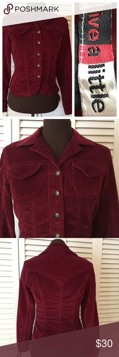 Live a Little Size Small Maroon Jacket Has that velour/soft feel.  Fabric is shown in last Photo.  Beautiful Retro Look in excellent condition Live a Little Jackets & Coats Jean Jackets