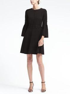 Banana Republic Womens Bell-Sleeve Fit-And-Flare Dress With Lace Trim Black