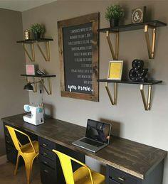 60 favorite DIY office desk design and decoration ideas . - 60 favorite DIY office desk design and decoration ideas - Diy Office Desk, Home Office Space, Home Office Desks, Home Office Furniture, Office Ideas, Diy Desk, Office Designs, Double Desk Office, Kids Office