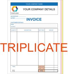 Personalised a5 invoice #triplicate #books / ncr / #receipt, 50 sets / pad,  View more on the LINK: http://www.zeppy.io/product/gb/2/121714457796/