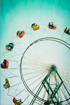 Ferris wheel vintage photography.  You couldn't pay me enough to ride on this, those cars are crazy!
